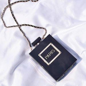 Black Gold Paris Acrylic Crossbody Clutch Bag New